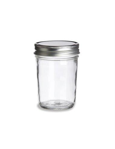 Mason Jar ECO clear 8 oz met zilveren deksel - 1 stuks