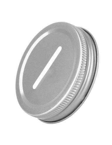 Mason Jar Coin / Bank Deksel Regular - Zilver
