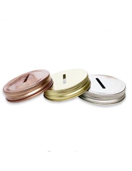 Mason Jar Coin / Bank Deksel Regular Zilver 1 st.