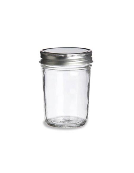 Mason Jar ECO clear 8 oz met zilveren deksel