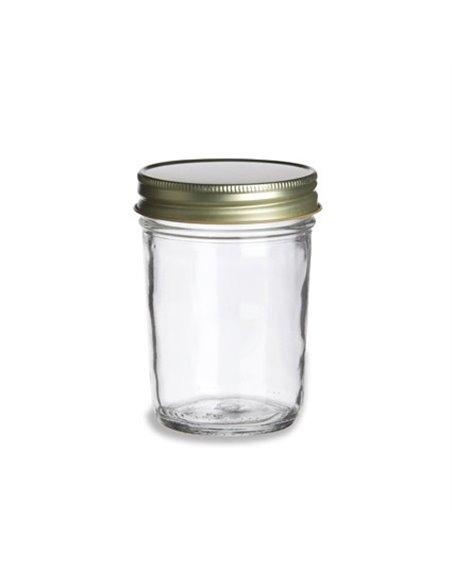 Mason Jar Smooth clear 8 oz  met gouden deksel