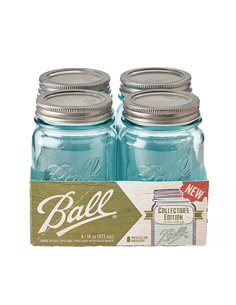 Ball | Mason Jar Collector's Edition Regular Mouth 16 oz Aqua Vintage (4 stuks)