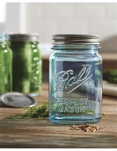 Ball | Mason Jar Collector's Edition Regular Mouth 16 oz Aqua Vintage (4 stuks)