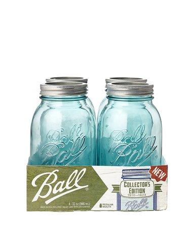 Ball | Mason Jar Collector's Edition Regular Mouth 32 oz Aqua Vintage (4 stuks)