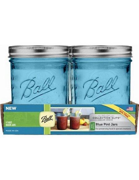 Ball   Mason Jar Elite BLUE 16 oz / 475 ml Wide Mouth (4 stuks)