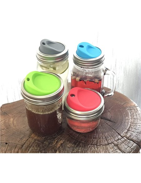 Mason Jar Rietjesdeksel REGULAR Mouth (2 stuks)
