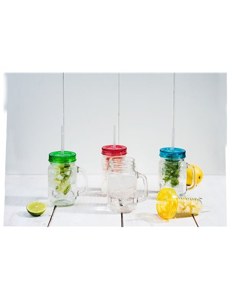 Mason Jar Drinkbeker met Rietje & Infuser 475 ml (4 stuks)