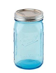 Ball   Mason Jar Elite BLUE 32 oz / 940 ml Wide Mouth (4 stuks)