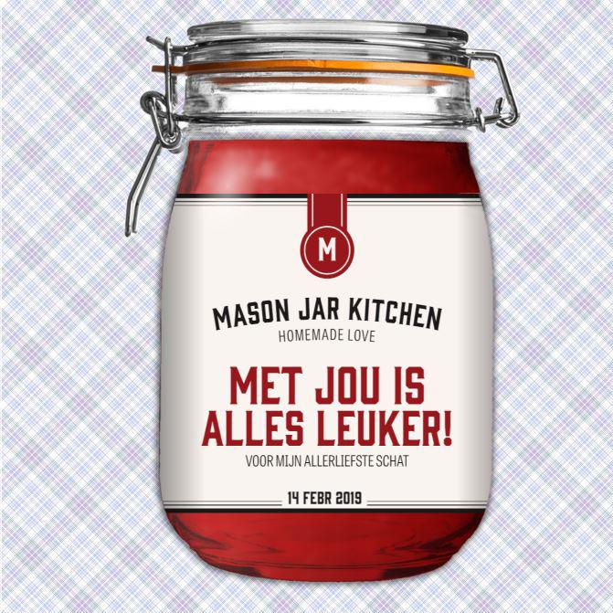 Valentijn etiket voor mason jar